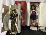Lot of 2 porcelain dolls; Fayzah Spanos Collection, Franklin Heirloom Dolls Christmas