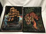 Lot of 2; vintage black light posters - Ghost Ship and Tiger Jungle Cat approx 21 x 32 inches.