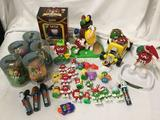 Large lot of M&M?s collectible toy figures banks Nutcracker Holiday candy dish Hot rod car