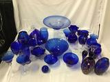 Lot of 27 blue crystal glass home decor items vases baskets ball candleholders Candy dish bowls