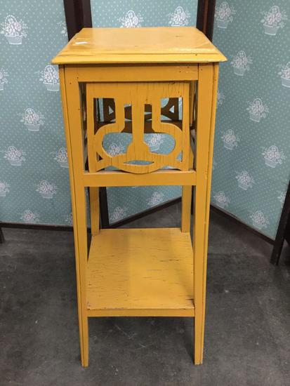 Vintage distressed wooden plant stand side table with yellow painted design