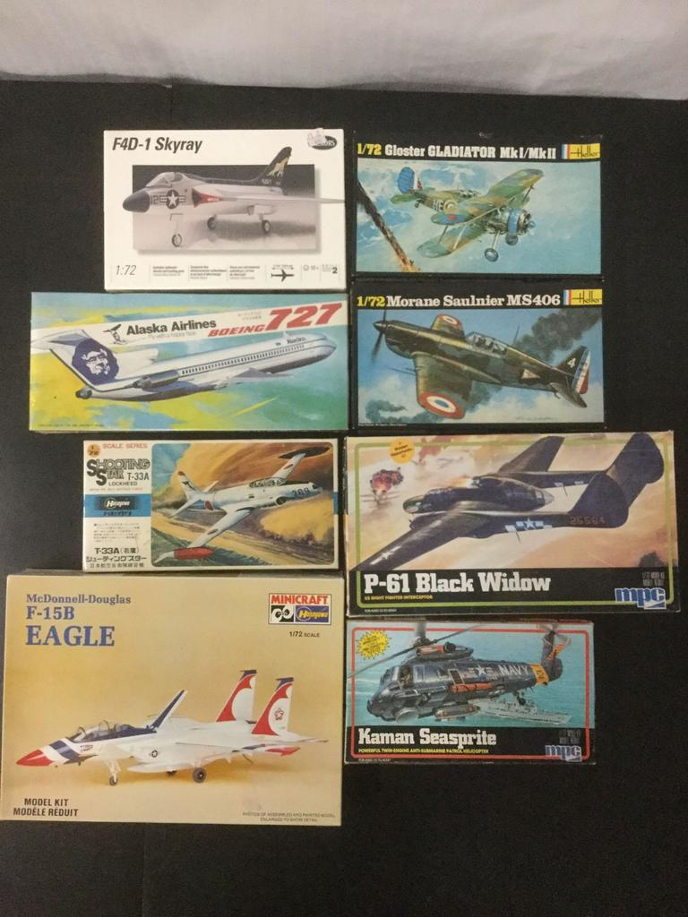8x military aircraft plastic model kits; 1:72 scale; Heller, Hasegawa , Testors, MPC, 3x SEALED