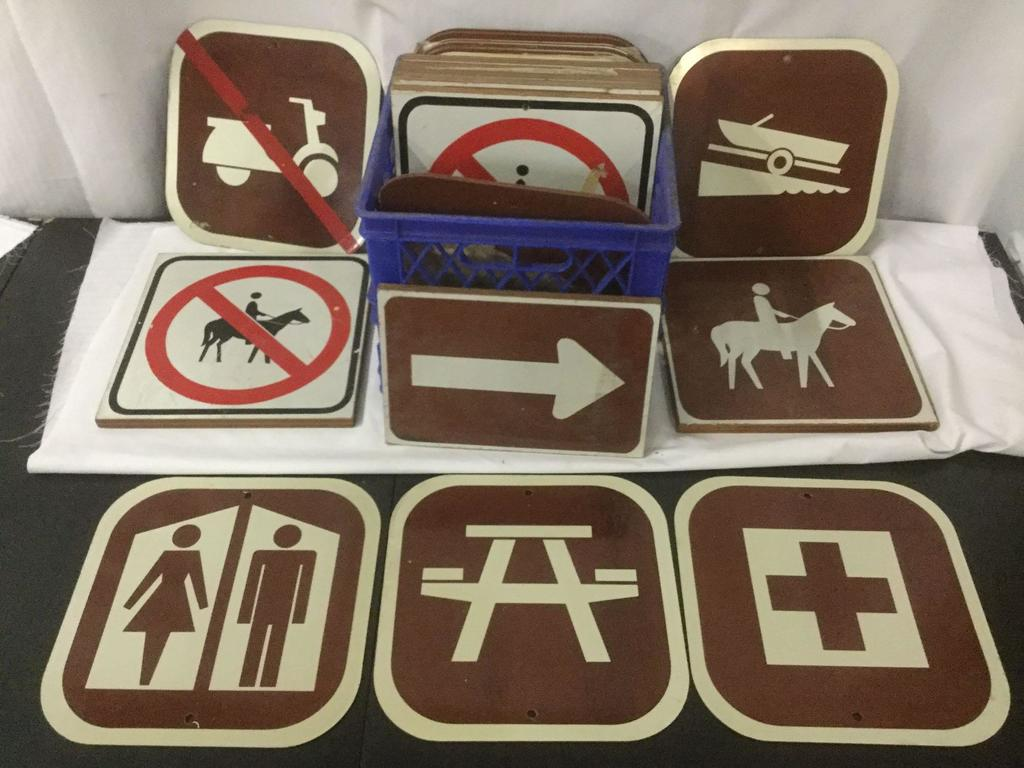 Vintage Parks and Recreation trail marker signs, horseback, boat launch, picnic, restroom and more