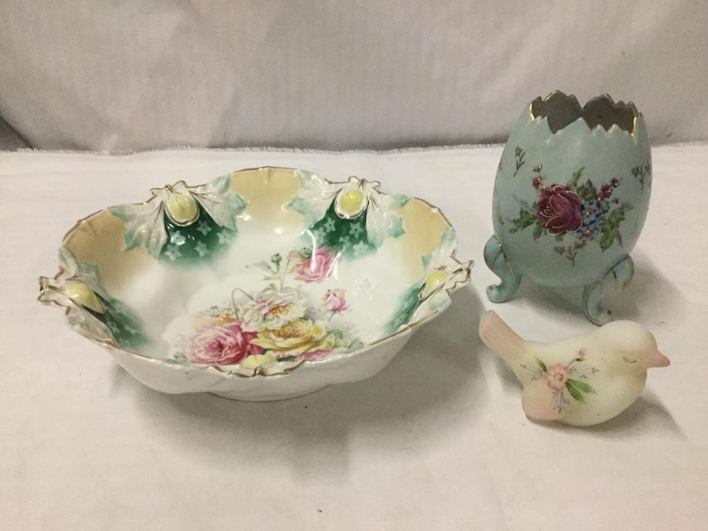 1 Handpainted Bird Paperweight, and 2 handpainted Porcelain Bowl and Egg. Marked RS Prussia
