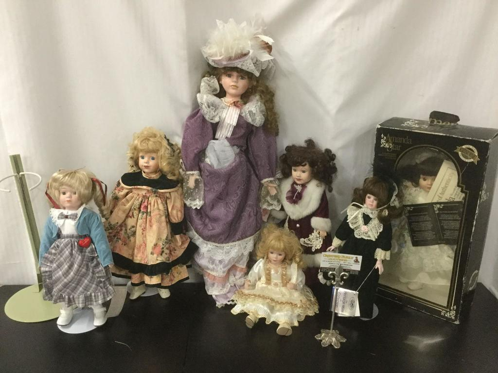 7x porcelain dolls some with stands Amanda Star in box w/ COA Heritage Mint Sweetheart Doll