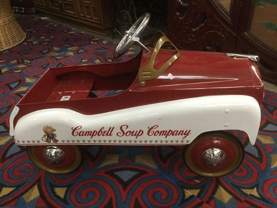 RARE! Campbell's soup company metal childrens peddle car in great condition, by Gearbox