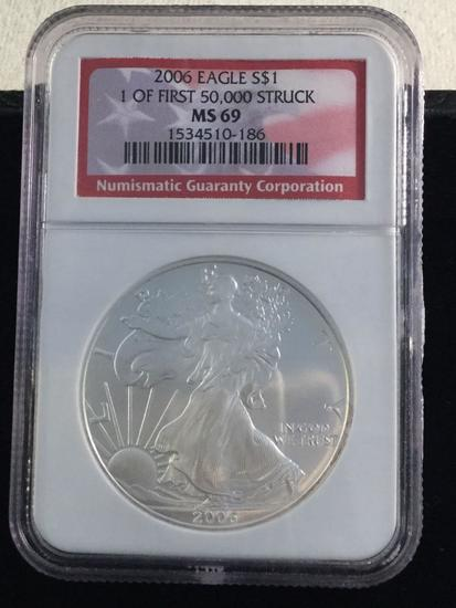 2006 1 oz. .999 Silver Eagle MS69 NGC, 1 of first 50,000 struck