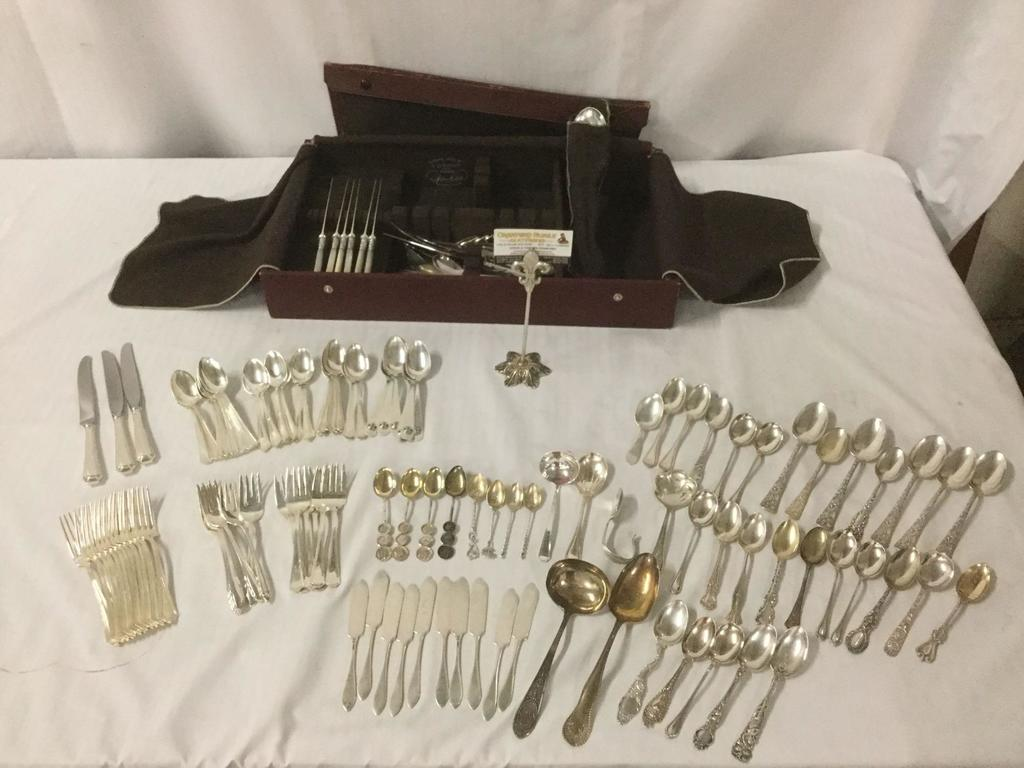 Large collection of over 140 piece flatware set w/ many sterling silver pieces. sterling silver