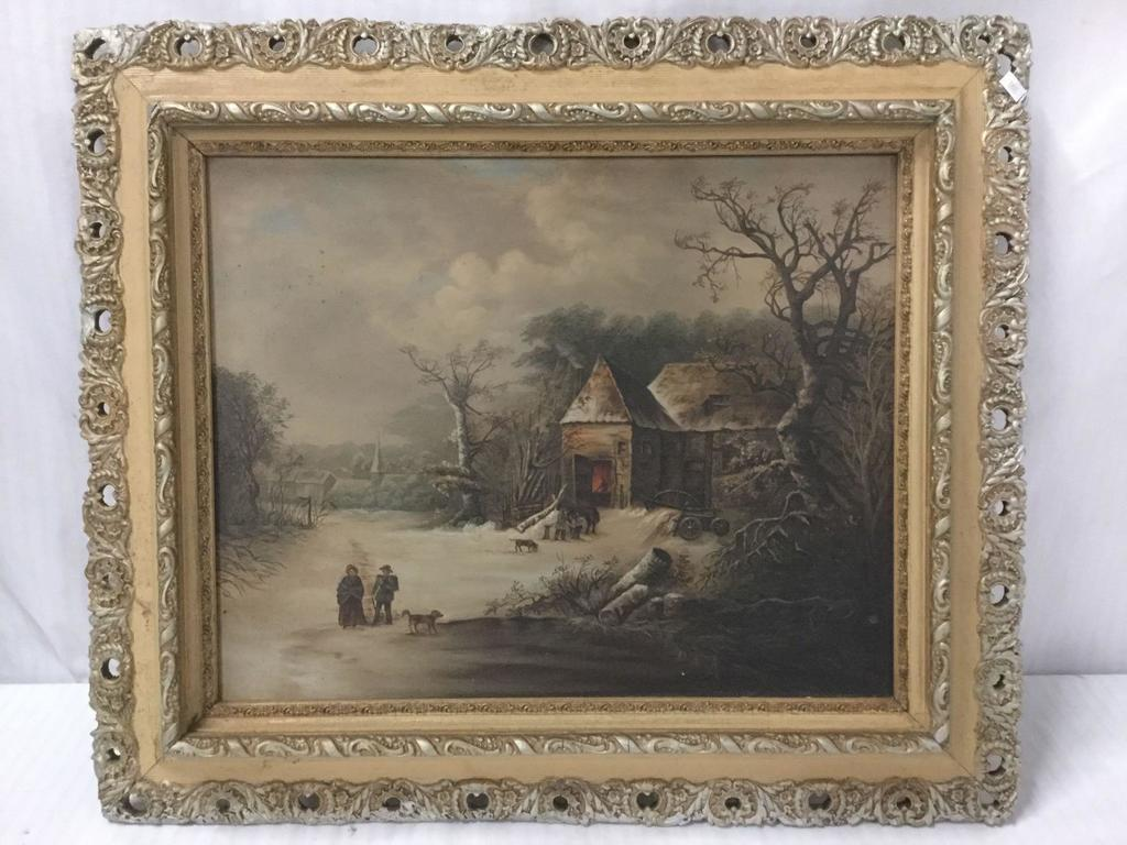 Original antique old master style winter rural house scene painting - oil on canvas in ornate frame
