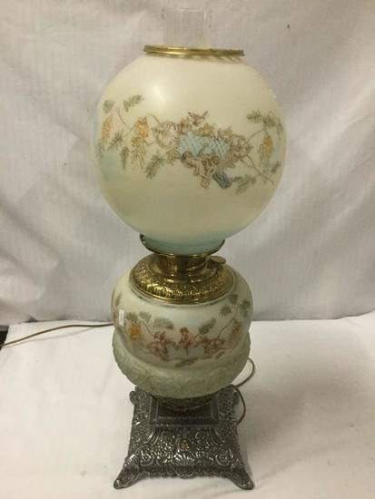 Vintage dual bulb hand painted oil lamp converted to electric lamp - base needs to be reattached
