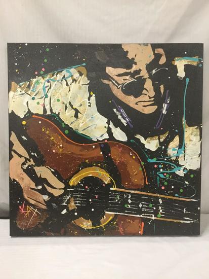 Original Lennon on Acoustic by KAT. 2007. Acrylic on Canvas - signed w/ COA - est value