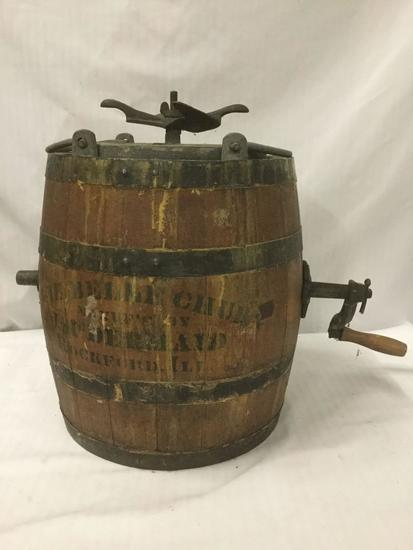 Vintage wooden barrel butter churn - The Belle Churn by J. McDermaid. Made in Rockford Illinois