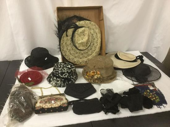 Lot of vintage ladies daytime and evening hats w/ a few purses - various cond