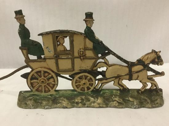 Antique Painted Cast Iron Lamp, Stagecoach with Horse