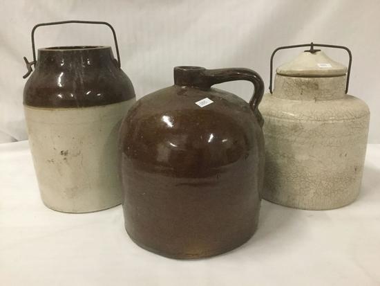 3 vintage crockery stoneware vessels/jugs - unmarked see pics