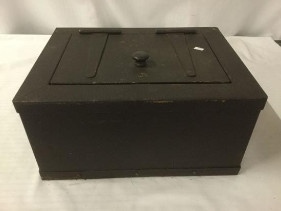 Antique wooden lock box/safe - no key