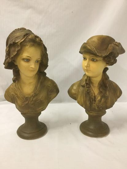 Pair of Victorian painted chalkware busts - male and female - some very small chips as is
