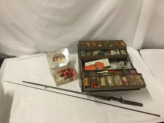 Vintage Berkley Parametric Fishing Rod, and Tackle Box full of Lures, bobs, Hooks, etc. see pics