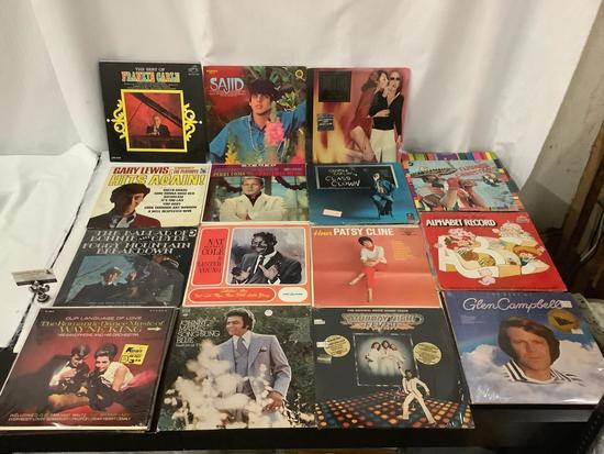 Lot of over 20 vintage LP records - Patsy Cline, Nat King, Perry Como, SNF soundtrack etc