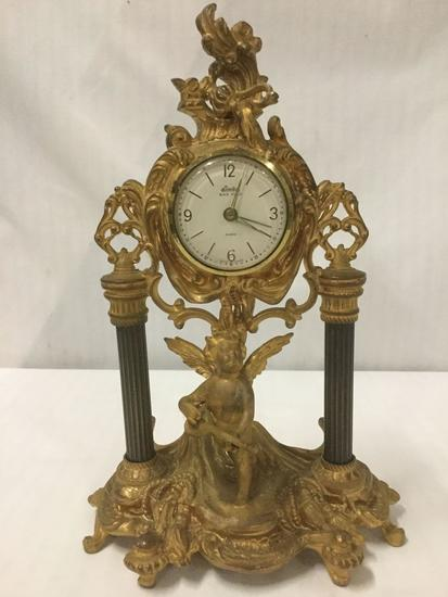 Vintage Linden Gilt Cast Iron Cherub Clock - marked Fichter KG made in Germany