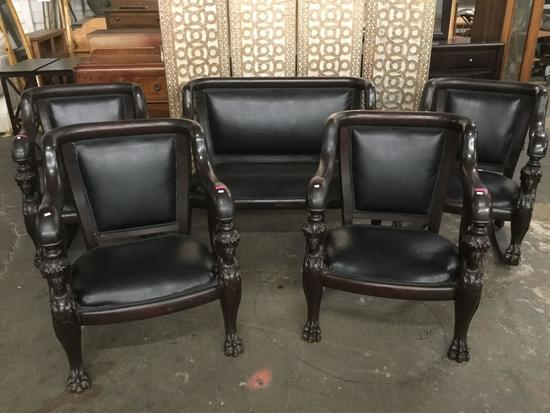 circa 1890's Antique French Empire 5 piece Couch w/2 chairs and 2 rockers black leather upholstery.