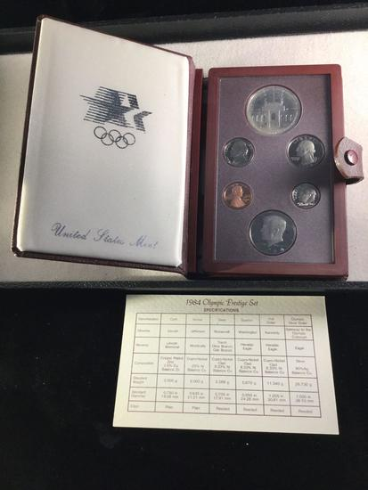 The 1984 U. S. Olympic Prestige Set w/ the 90% silver Olympic dollar