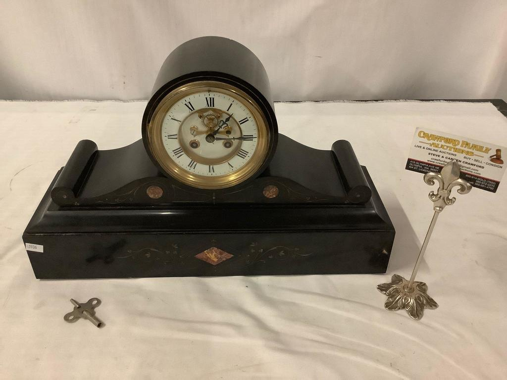 Antique French R. Marti mantle clock with skeleton face, carved stone base and brass detail