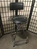 Craftsman Leather Cushioned Metal Frame Stool with Back
