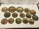 15 Antique Ceramic and Resin Sculptured Plates with Scenes of Famous Landmarks. Mormon Temple etc