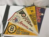 5 vintage 60s and 70s NHL and NBA pennants