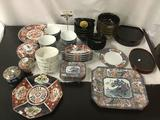 Mixed collection of 62 pcs of Asian home decor marked Imari-Japan, Tiffany and Co plate etc