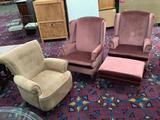 Pair of pink Posture built mid century wingback armchairs with ottoman and modern cushioned armchair