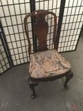 Antique mahogany dinner chair with woven seat - courtship scene