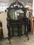 Antique 2 pc Mahogany china/display cabinet with mirror back and rounded glass doors - as is