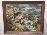Original Horse Landscape Painting by Rich Pelletreau. 1977. Oil on Canvas. Framed