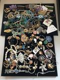 Huge collection of vintage estate jewelry, hair pins, rings, earrings, brooches, more. See pics
