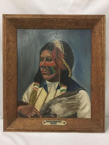 Original Painting of Chief Grant Richards of the Tonkawa by B. Brodhagen. Framed