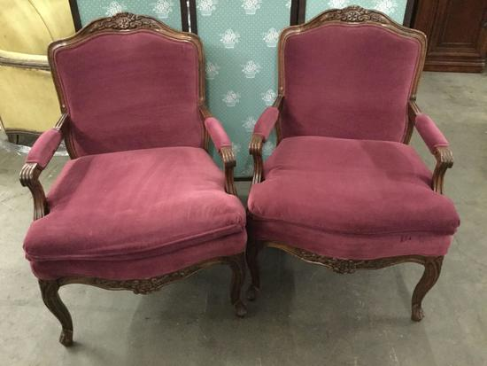 Pair of vintage Bernhardt walnut cushioned arm chairs w/ newer purple upholstery