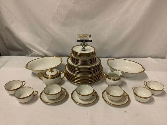 37 pc Vignaud Limoges by S & G Gump Co (SF) gold rimmed service for 6 (missing a few pcs)