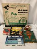 5 vintage board games / electronic handheld game; Carrom Game Board, Entex Baseballl, Spin- O etc