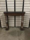 Modern stone top fireplace mantle frame w/ ornate lion figure motif & classic deco styling
