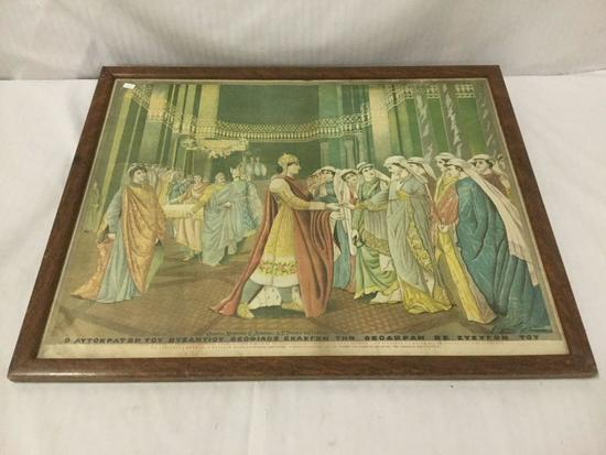 Print of a Portrait of Greek Royals - wedding or courtship scene - in frame