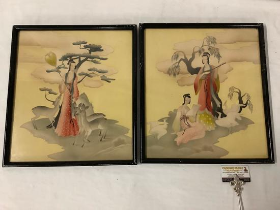 2x framed Asian art prints with female figures and wildlife