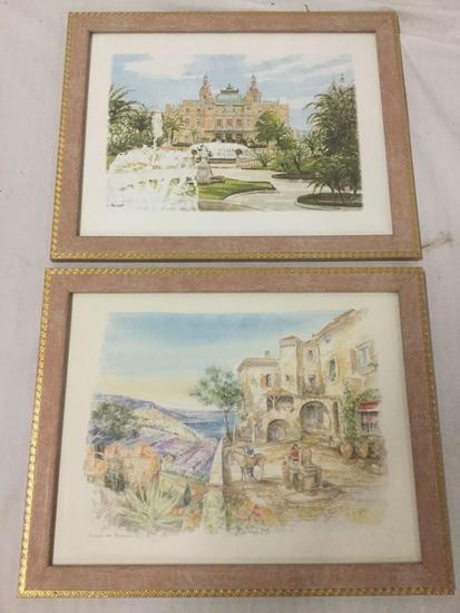 Pair of Watercolor Paintings, signed Tousset and Legai - European scenes