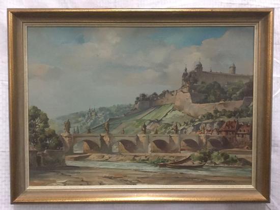 Original Landscape Painting signed Richter. Oil on Canvas in frame