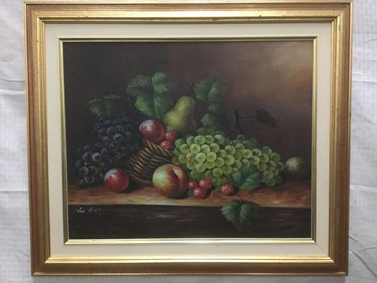 Original Painting of still life with fruit by Van Hunt - Oil on Canvas