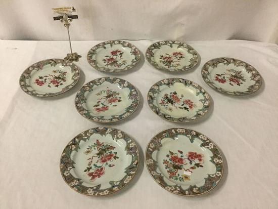 8 antique (circa 1760) hand painted Chinese dinner plates, approx 9 inches - see pics one repaired