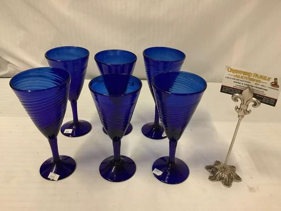6x cobalt blue crystal drinking glasses with swirled design