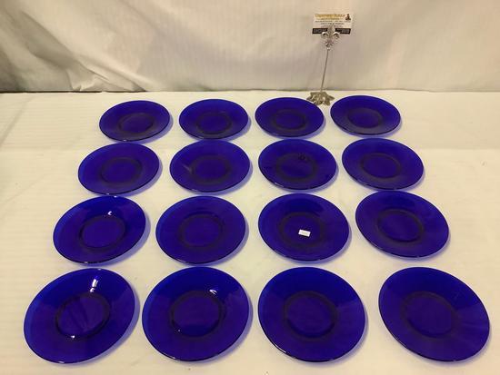 12x vintage cobalt blue glass small plates