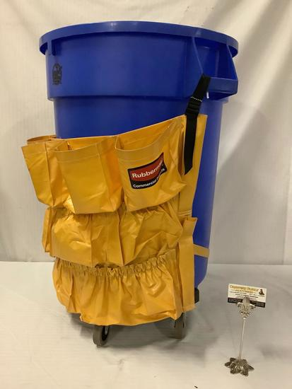 Genuine Joe Cleaning Supplies large plastic trash can on wheels with Rubbermaid storage apron